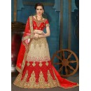 Traditional Wear Red & Cream Net Lehenga Choli - 21943