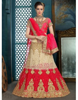 Festival Wear Red & Cream Net Lehenga Choli - 21944