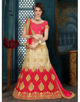 Wedding Wear Red & Cream Net Lehenga Choli - 21945