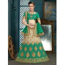 Ethnic Wear Off White & Green Net Lehenga Choli - 21946