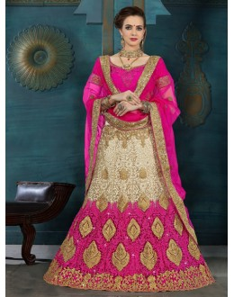 Party Wear Pink & Cream Net Lehenga Choli - 21947
