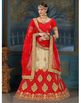 Traditional Wear Red & Cream Net Lehenga Choli - 21948