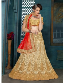 Festival Wear Cream Net Lehenga Choli - 21949