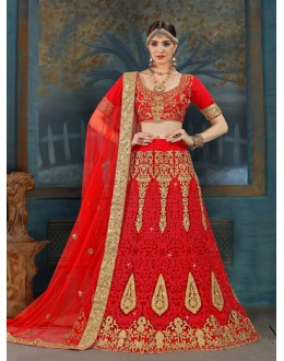 Wedding Wear Red Net Lehenga Choli - 21950