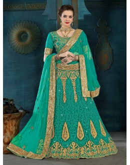 Ethnic Wear Green Net Lehenga Choli - 21951