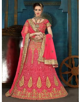 Party Wear Pink Net Lehenga Choli - 21952