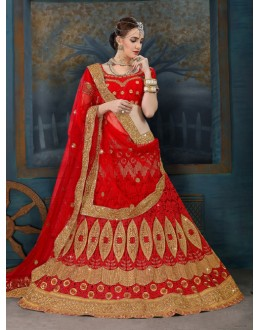 Traditional Wear Red Net Lehenga Choli - 21953