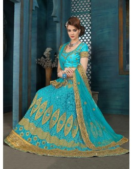 Ethnic Wear Mint Green Net Lehenga Choli - 21955