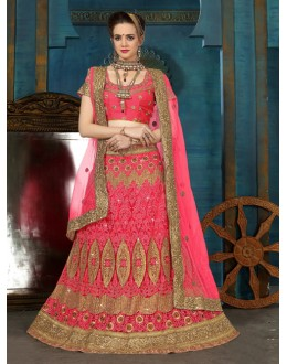 Traditional Wear Pink Net Lehenga Choli - 21956