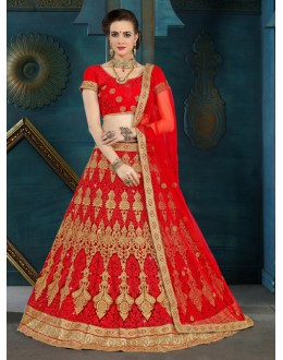 Party Wear Red Net Lehenga Choli - 21957