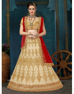 Wedding Wear Cream & Beige Net Lehenga Choli - 21958