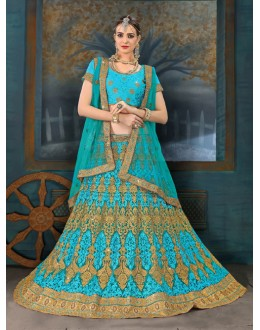 Festival Wear Green Net Lehenga Choli - 21959