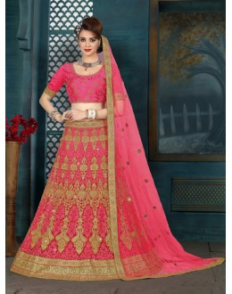 Ethnic Wear Pink Net Lehenga Choli - 21960