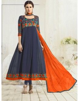 Festive Wear Grey & Orange Anarkali Suit - 22182