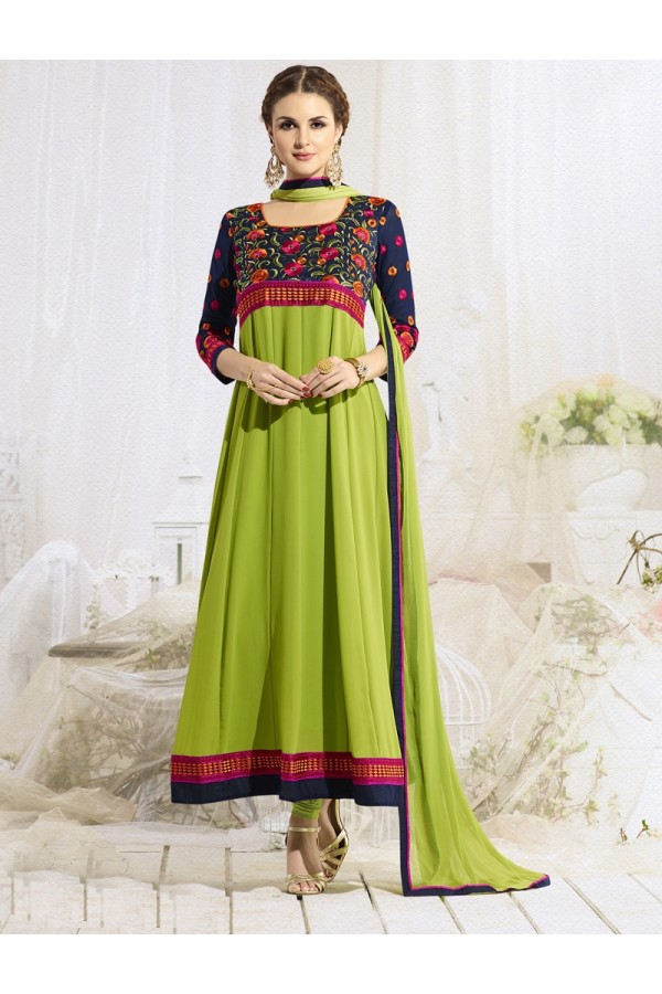 Party  Wear Green & Purple Anarkali Suit - 22185