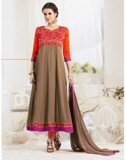 Designer Brown & Orange Anarkali Suit - 22186