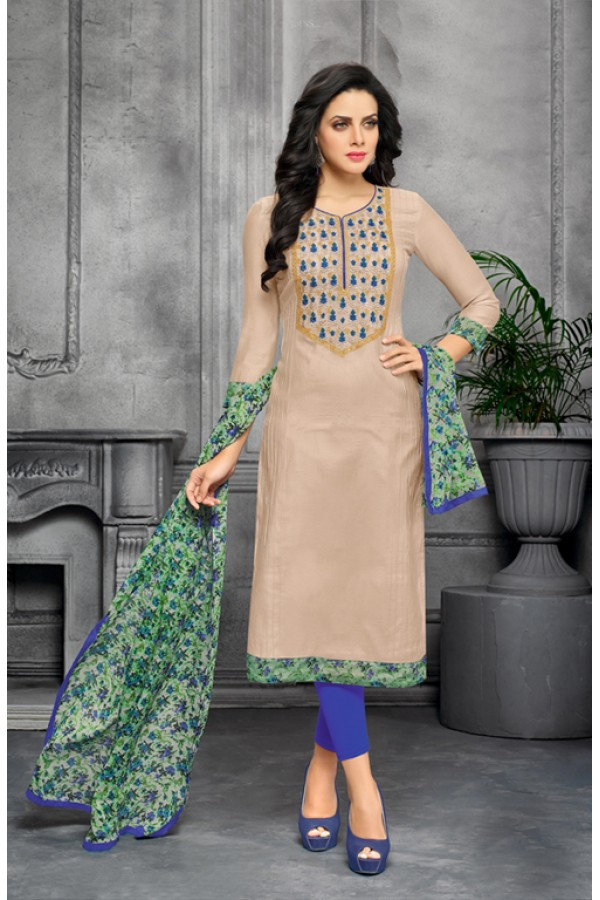 Party Wear Unstitched Light Grey & Blue Salwar Suit - 22273