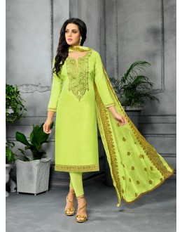 Party Wear Unstitched Green Salwar Suit - 22274