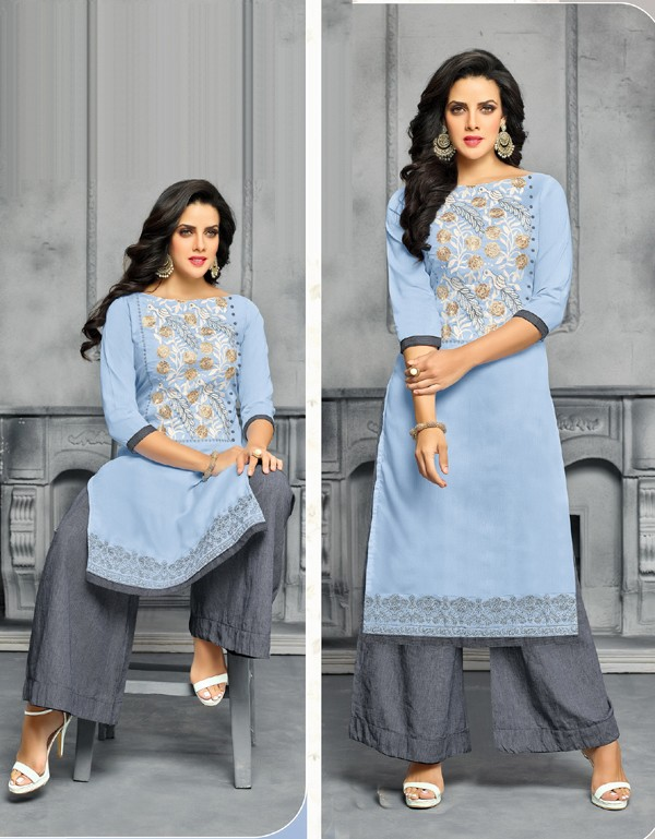 Party Wear Light Grey Unstitched Palazzo Suit - 22277