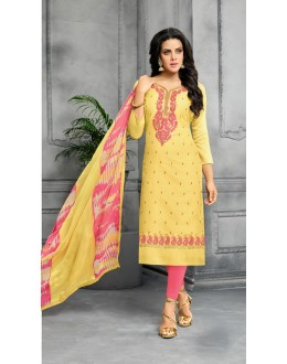 Designer Yellow & Pink Unstitched Salwar Suit - 22278