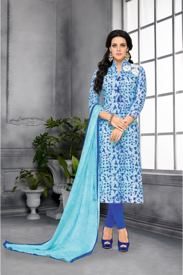 Party Wear Printed Blue Unstitched Salwar Suit - 22280