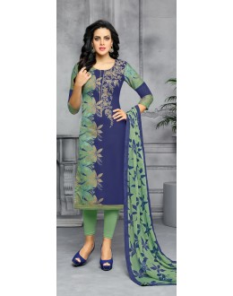 Party Wear Blue & Green Unstitched Salwar Suit - 22285