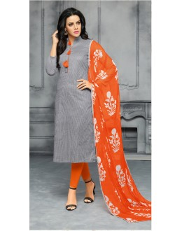 Festive Wear Grey & Orange Unstitched Salwar Suit - 22286