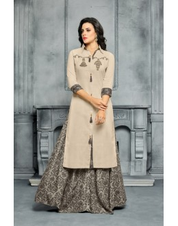 Fancy Beige & Grey Unstitched Palazzo Suit - 22289