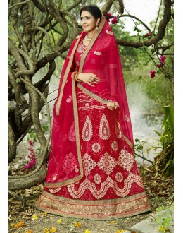 Wedding Wear Red Net Lehenga Choli- 22683
