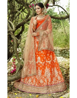 Festive Wear Orange & Cream Lehenga Choli- 22685