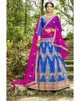 Embroidered Blue & Pink Lehenga Choli- 22686