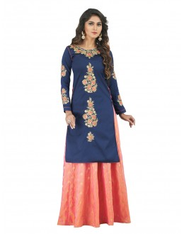 Designer Blue & Light Orange Lehenga Suit - 22804