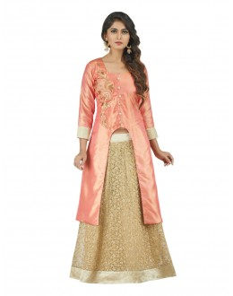 Wedding Wear Orange & Cream Lehenga Suit - 22806