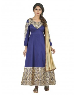 Embroidered Deep Blue & Cream  Anarkali Suit - 22807