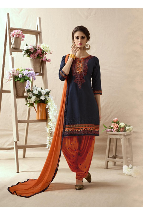 Festive Wear Deep Blue & Orange Patiala Suit - 22811