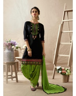 Party Wear Black & Parrot Green Patiala Suit - 22813