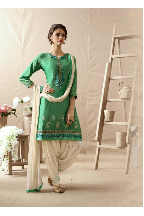 Designer Light Parrot Embroidered Patiala Suit - 22817
