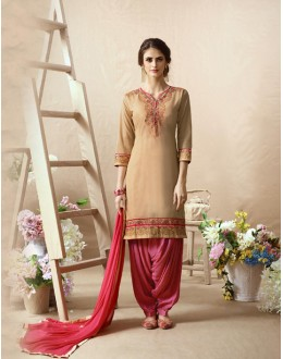 Party Wear Beige & Pink Patiala Suit - 22819