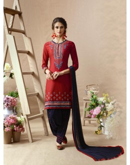 Designer Red & Blue Patiala Suit - 22820