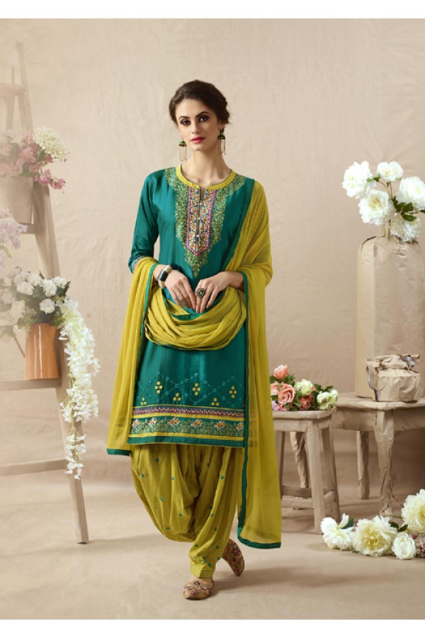 Designer Shyn Blue Embroidered Patiala Suit - 22822