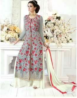 Designer Grey Embroidered Palazzo Suit -22825
