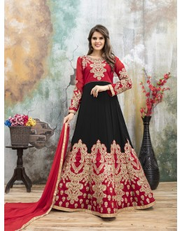 Festival Wear Red & Black Heavy Designer Anarkali Suit - 22886
