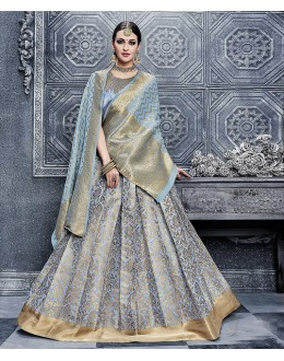Wedding Wear Designer Light Blue heavy Embroidery Work Lehenga Choli - 26283