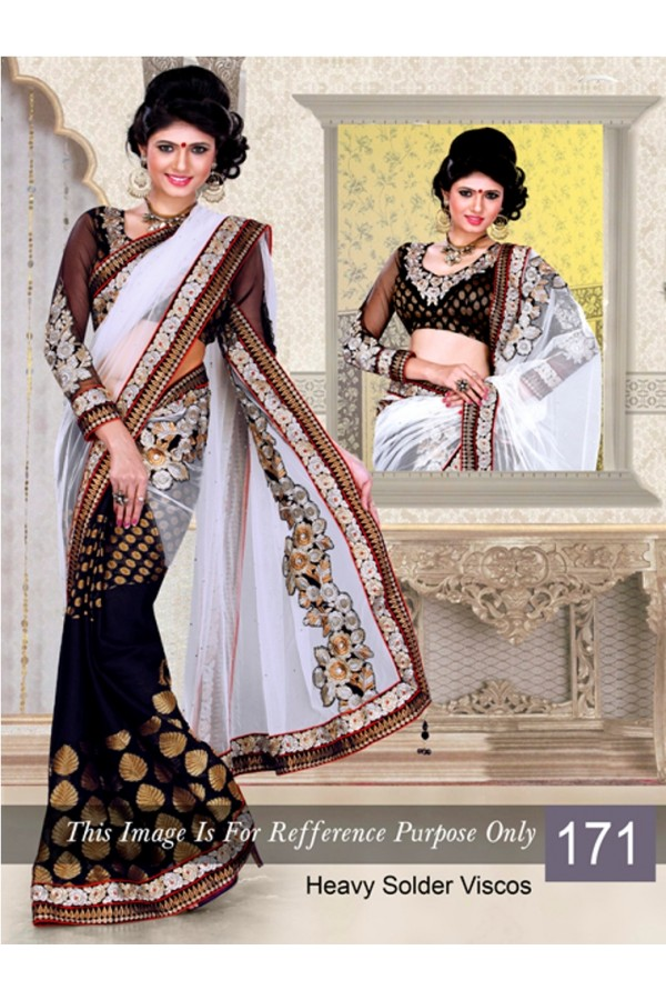 Bollywood Replica - Black and White Color Bollywood Style Saree- 171 (CM-Vol-3)