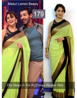 Bollywood Replica - Madhuri dixit Lemon Color Bollywood Style Saree- 179 (CM-Vol-3)