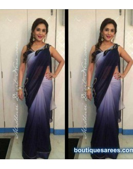 Bollywood Replica - Madhuri dixit Grey and Black Color Saree - 1903 (HSF-170)