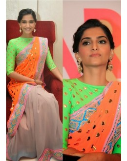 Bollywood Replica - Sonam kapoor Orange and Green Georgette Party Wear Saree - 1900 ( SIA )