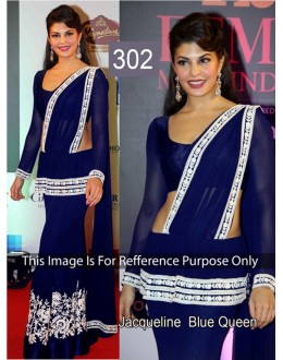 Bollywood Replica - Jacqueline Navy blue Color Bollywood Style Lehenga  Saree- 302 (CM-Vol-8)