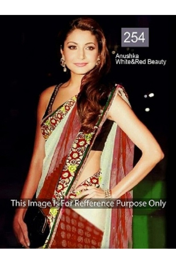 Bollywood Replica - Anushka Sharma Beautiful In White and Red Saree- 254 (CM-Vol-6)