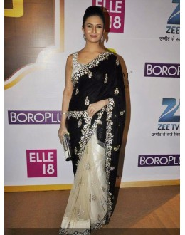 Bollywood Replica - Divyanka Tripathi Black Off-White Net Georgette Saree - 318 (IB-501)